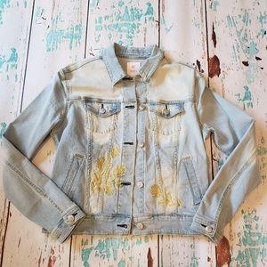 New! Lularoe Harvey Embroidered Jean Jacket